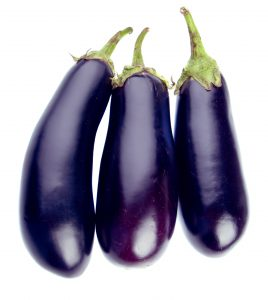 Aubergines isolated on white background